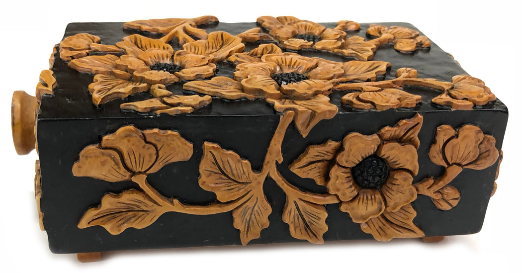 Apricot Flower - Niger Bend Soapstone Trinket Decor Drawer Box - Niger Bend