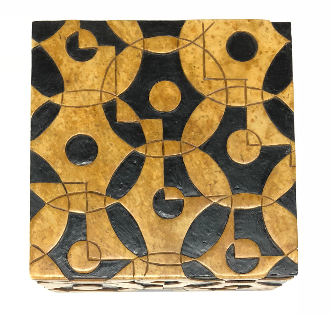 Interlocking Circles Soapstone Trinket Decor Box - Niger Bend