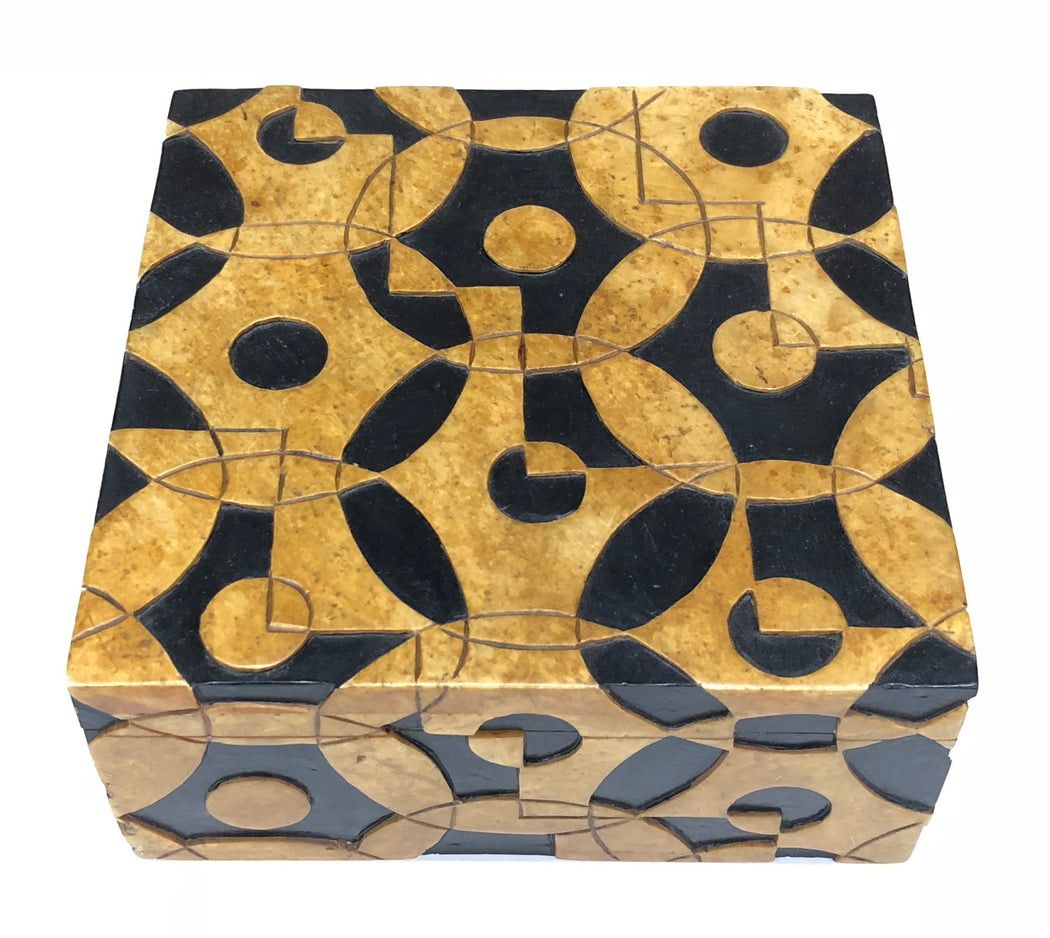 Interlocking Circles Soapstone Trinket Decor Box