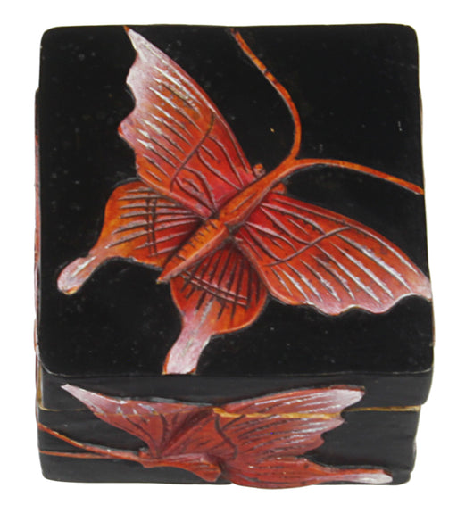 Butterflies - Soapstone Trinket Decor Box - Niger Bend