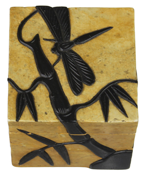 Dragon Fly on Bamboo Plant - Soapstone Trinket Decor Box - Niger Bend