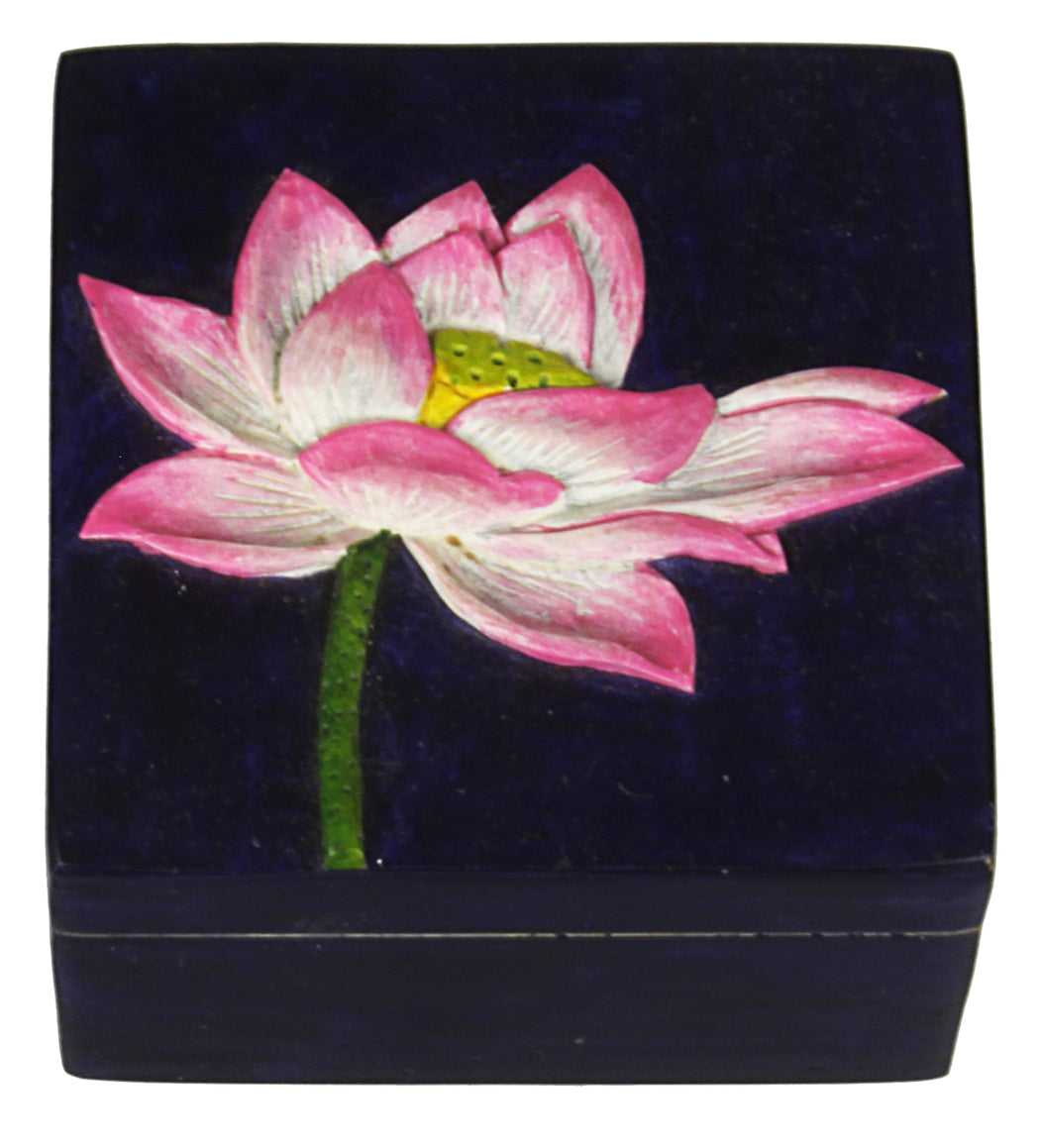 Flower - Soapstone Trinket Decor Box - Niger Bend