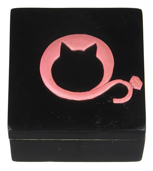 Cat Logo - Soapstone Trinket Decor Box - Niger Bend