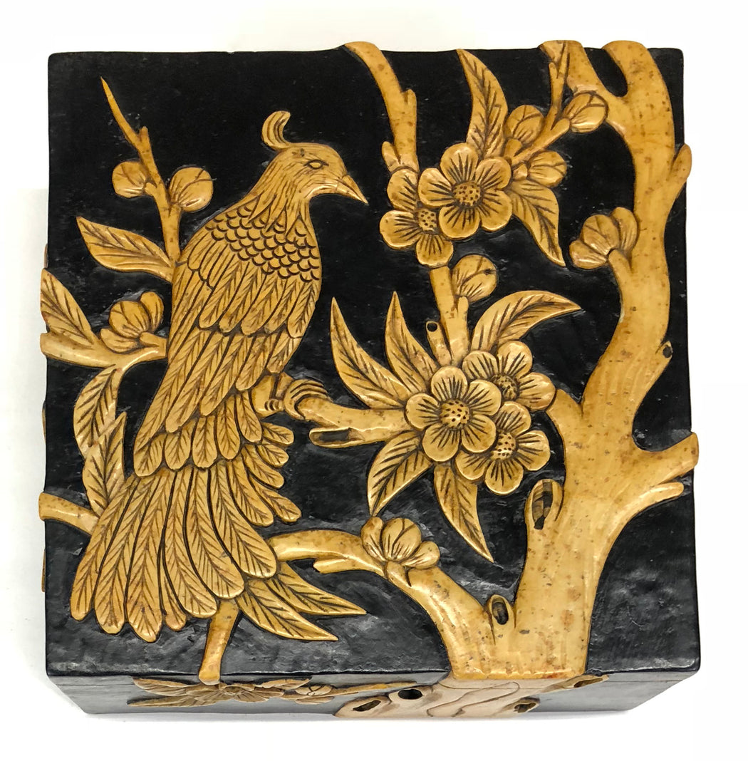 Bird in Flowering Tree - Soapstone Trinket Decor Box