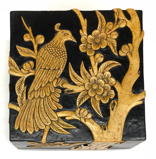 Bird in Flowering Tree - Soapstone Trinket Decor Box - Niger Bend