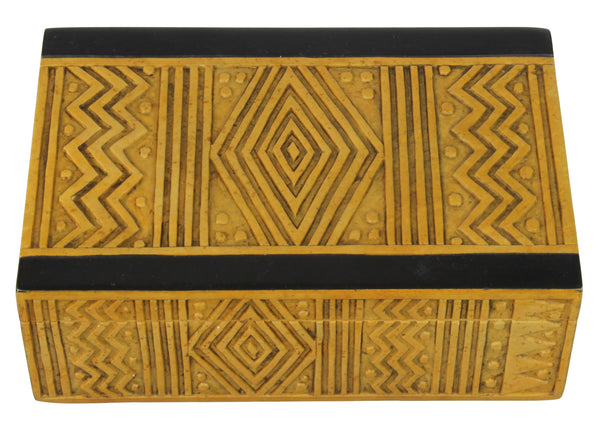 African Mudcloth - Niger Bend Soapstone Trinket Decor Box