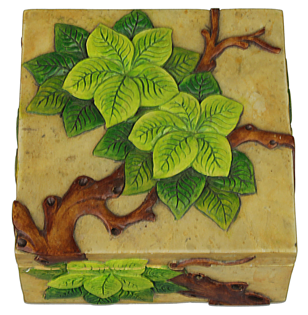 Trees with Leaves - Soapstone Trinket Decor Box - Niger Bend