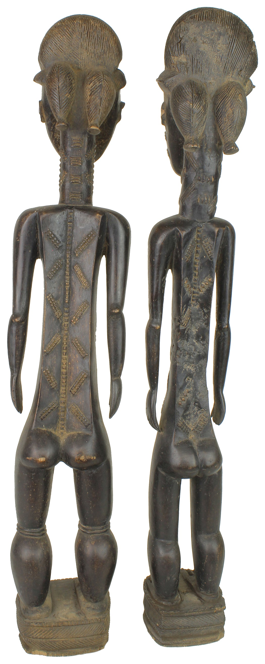 "Very Large Baule Aise Usu Spirit Mate Statues Pair | 33"" - Niger Bend"
