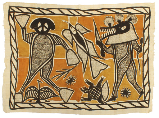 "Korhogo Printed Ivory Coast African Textile | 55"" x 40"" - Niger Bend"