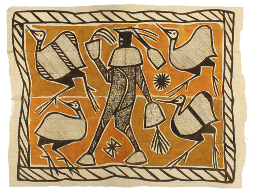 "Korhogo Printed Ivory Coast African Textile | 52"" x 40"" - Niger Bend"