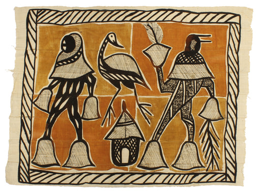 "Korhogo Printed Ivory Coast African Textile | 51"" x 38"" - Niger Bend"