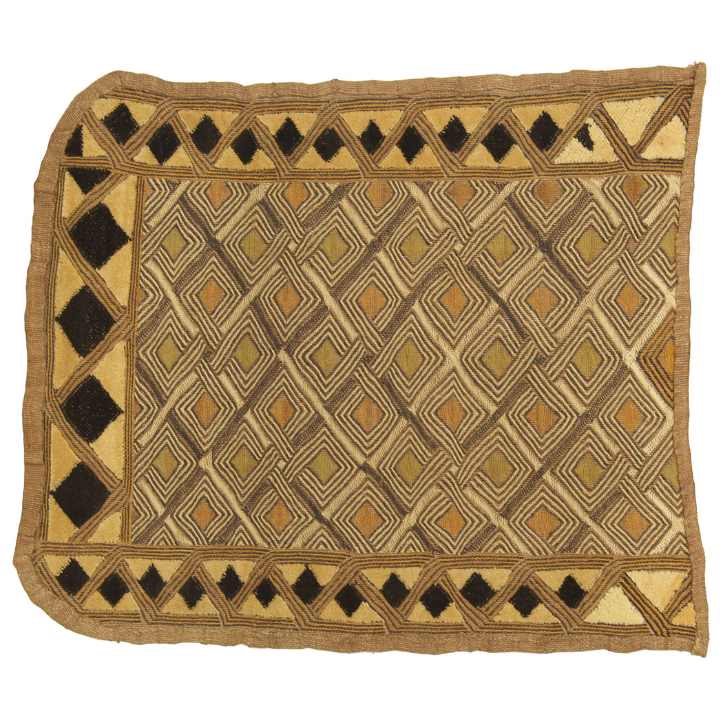 "Vintage Kuba Cloth Textile Wall Art | 21"" x 18"" - Niger Bend"