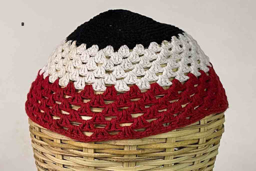 3-color 100% cotton crocheted kufi African men's hat