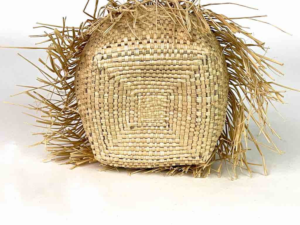 Fringed Cylindrical Swampgrass Basket - Benin