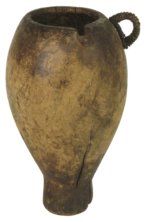 "Vintage Wood & Leather Vessel from Congo, Africa | 11.5"" - Niger Bend"