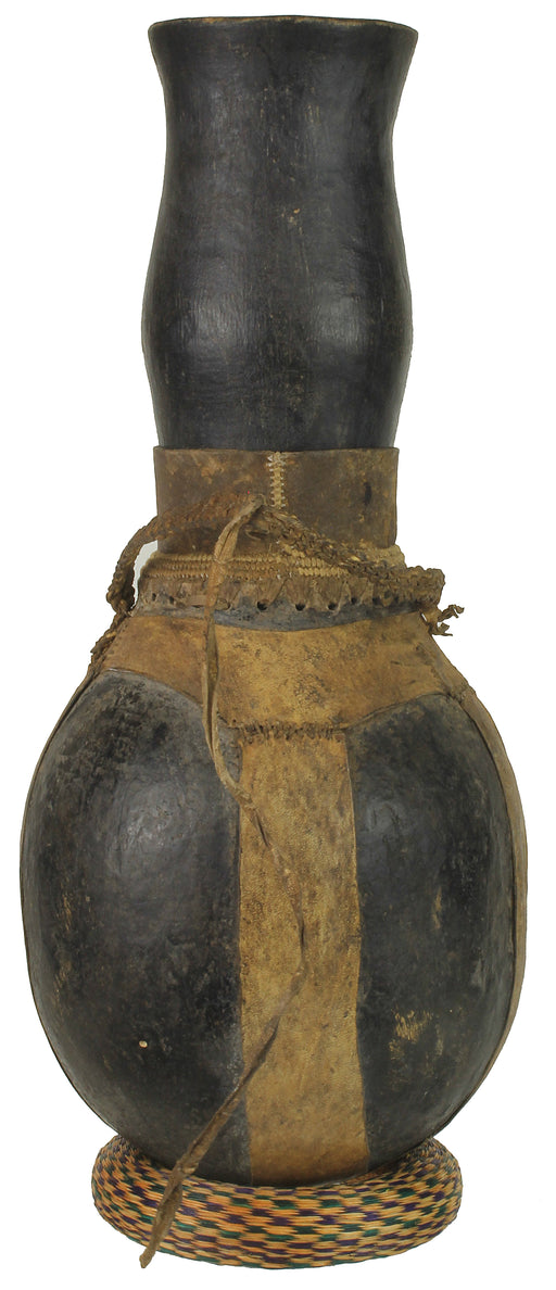 "Vintage Wooden & Leather Milk Vessel from Congo, Africa | 17"" - Niger Bend"