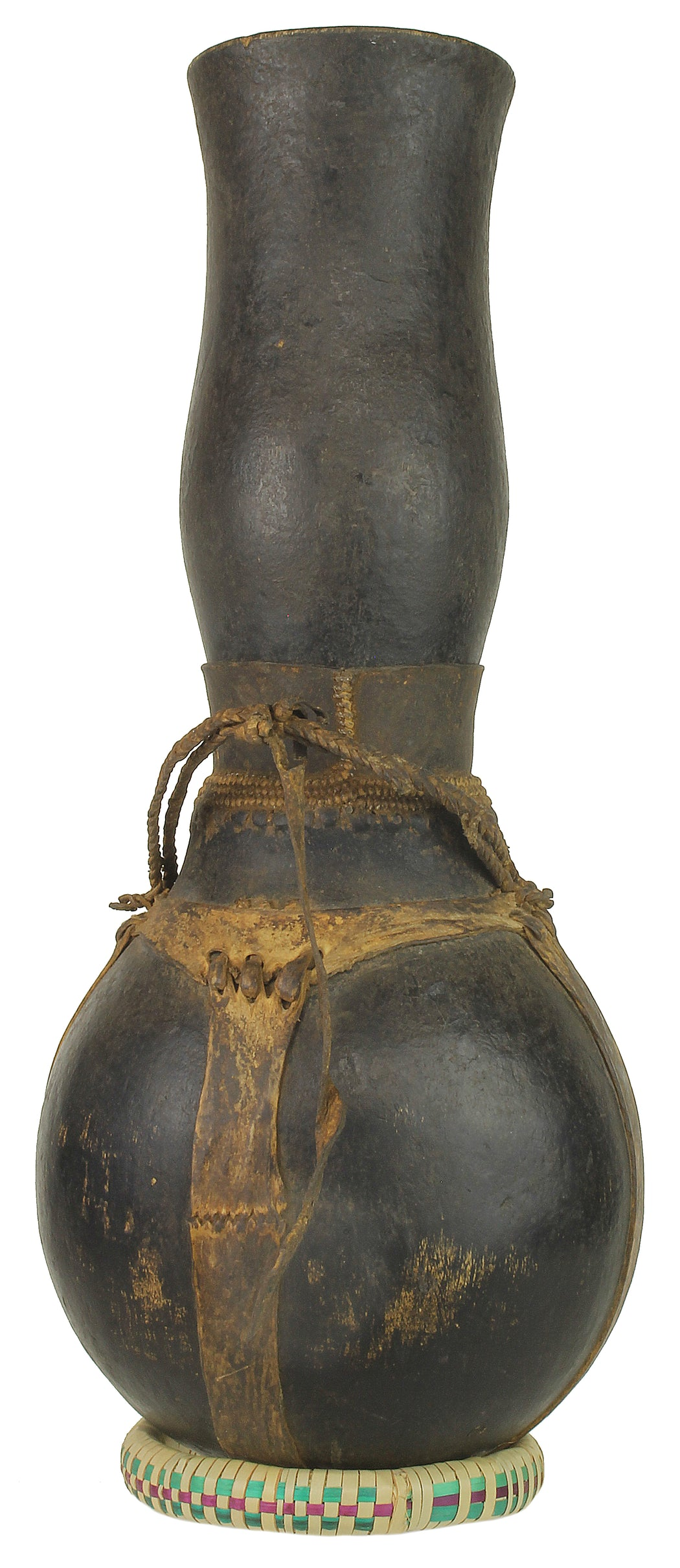 "Vintage Wooden & Leather Milk Vessel from Congo, Africa | 18.5"" - Niger Bend"