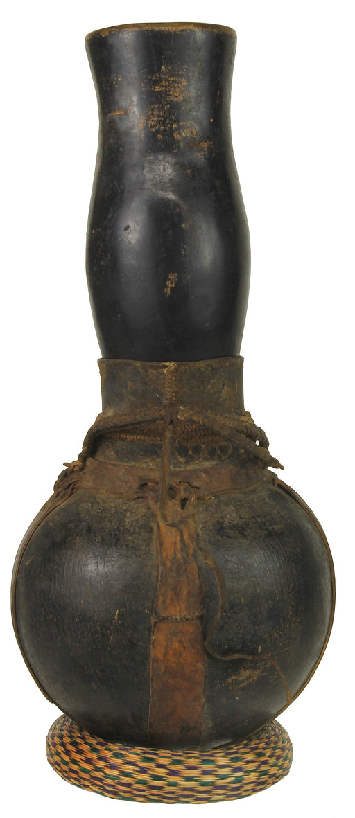 "Vintage Wooden & Leather Milk Vessel from Congo, Africa | 16"" - Niger Bend"
