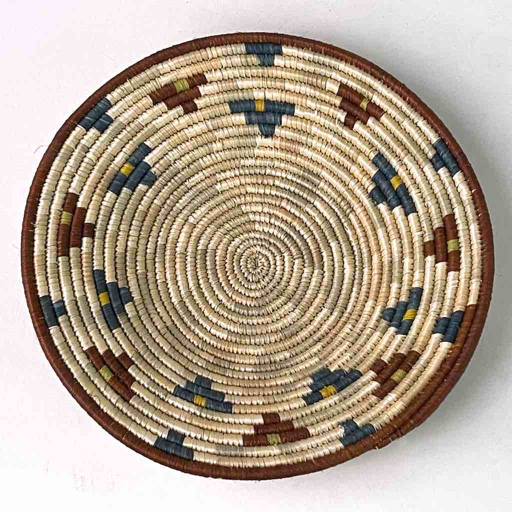 Small Very Thin Coil Finest Quality Handwoven Rwenzori Raffia Shallow Basket/Bowl | 6.5""