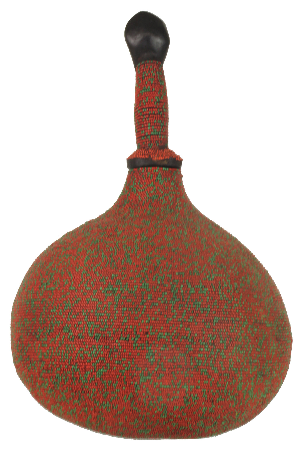 Beaded Decor Gourd from Congo, Africa - Red/Green - Niger Bend