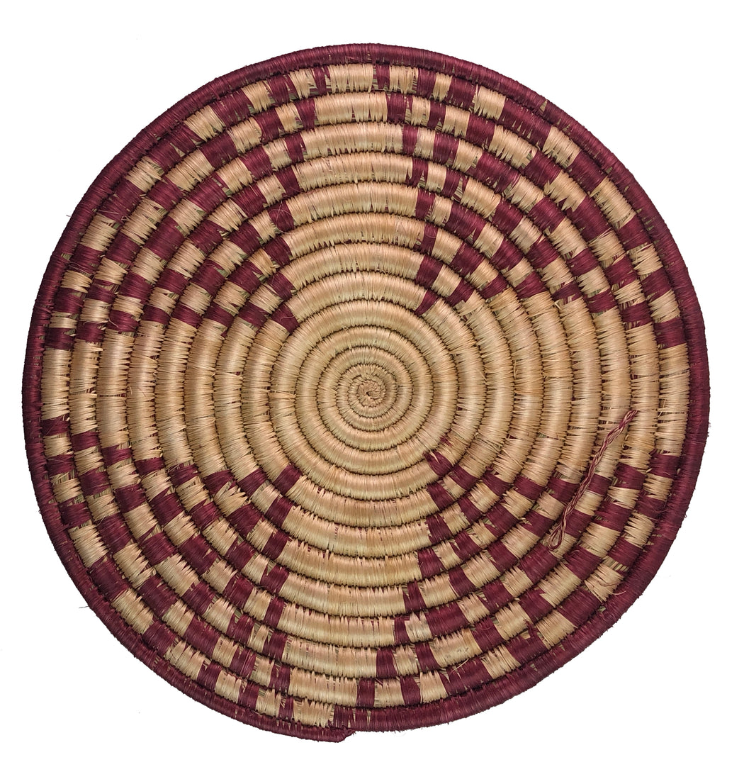 "Medium Flat Handwoven Sisal Grass Decor Hot Plate | 12"" - Niger Bend"