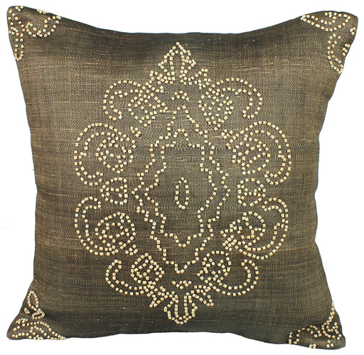 Abacá Décor Pillow Throw with Embroidered Coconut Beads - Niger Bend