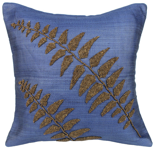 Abacá Décor Pillow Throw with Embroidered Coconut Beads - Plant Design - Niger Bend