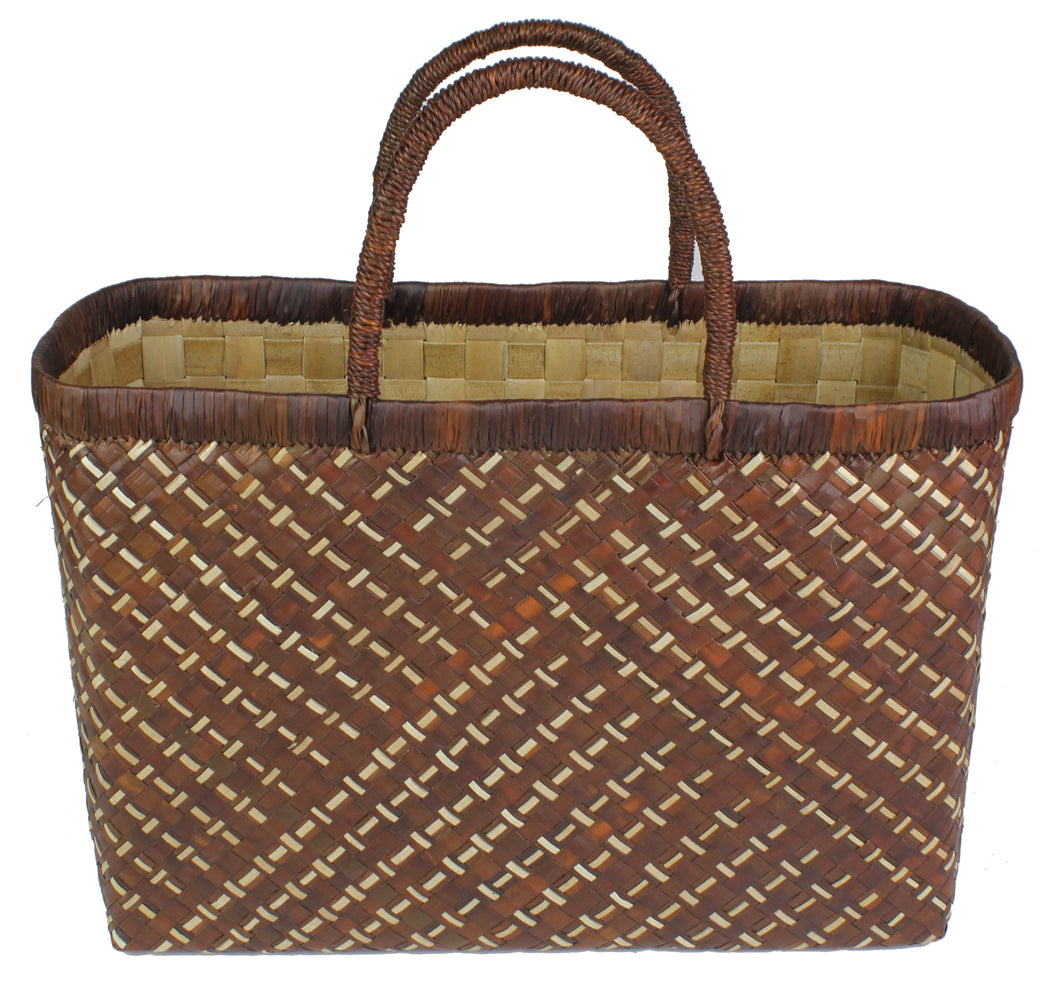 Handwoven Pandan Straw Handbag - Philippines - Brown - Niger Bend