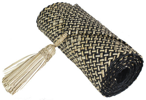 Table Runner Handwoven from Pandan Straw - Black/Natural - Niger Bend