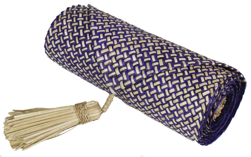 Table Runner Handwoven from Pandan Straw - Purple/Natural - Niger Bend