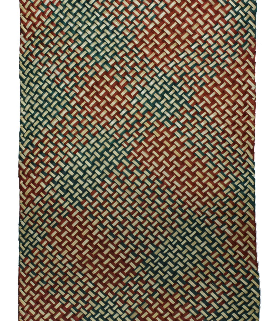 Table Runner Handwoven from Pandan Straw - Orange/Green/Natural
