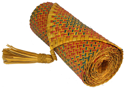 Table Runner Handwoven from Pandan Straw | Green/Orange/Red