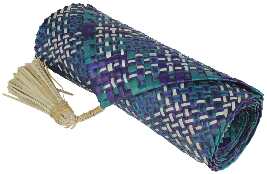 Table Runner Handwoven from Pandan Straw | Purple/Cyan
