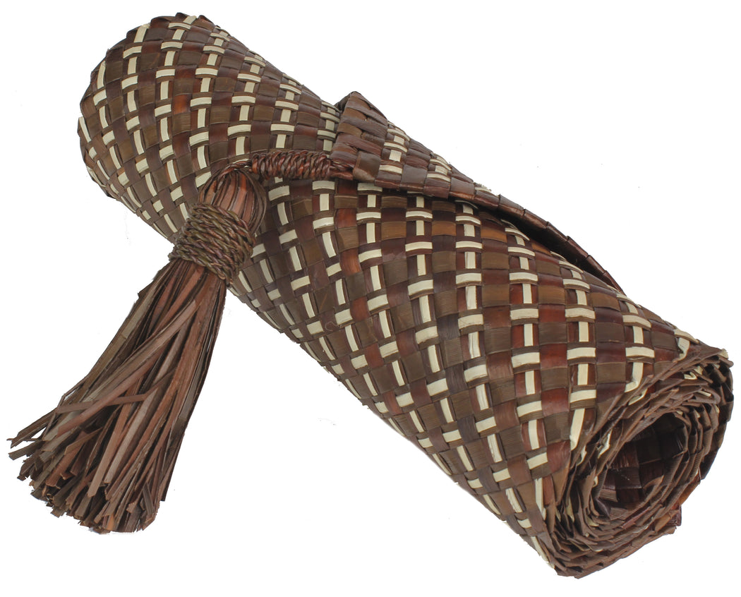 Table Runner Handwoven from Pandan Straw - Brown/Natural - Niger Bend