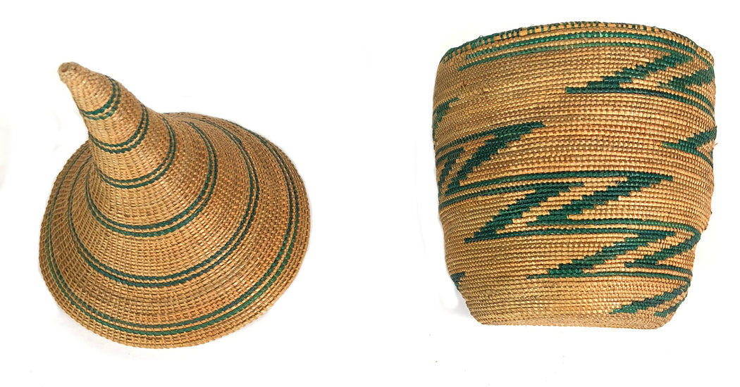 "Small Vintage Tutsi Decor Basket with Green Accents - 8"" x 3.5"" - Niger Bend"