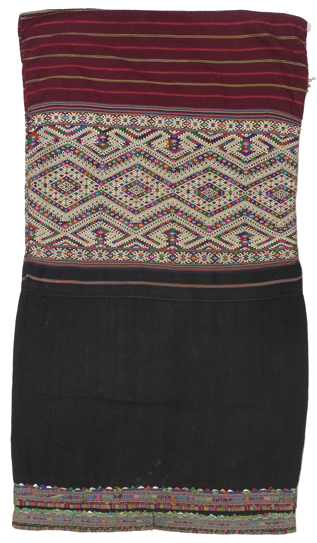 "Vintage Ethnic Lu Skirt from Northern Vietnam | 39"" x 21"" - Niger Bend"