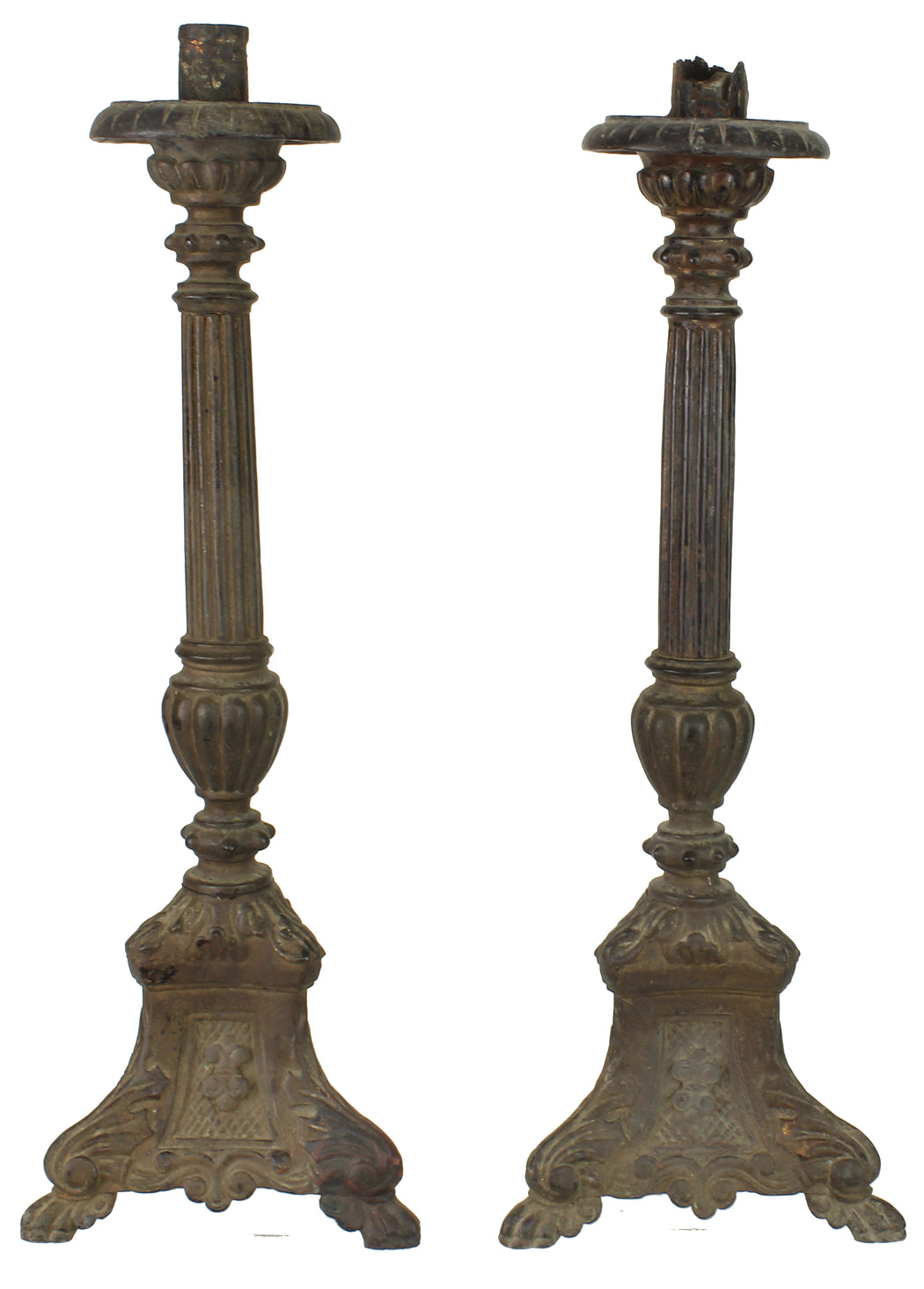 Set of 2 Antique Vietnamese Pagoda Chambersticks - Niger Bend
