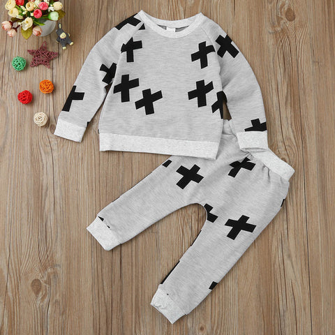Crossprint Sweatshirt Top & Long Pant Outfit