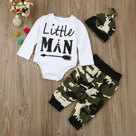 Infant Baby Little Man T-shirt Romper & Camouflage Pants Outfits