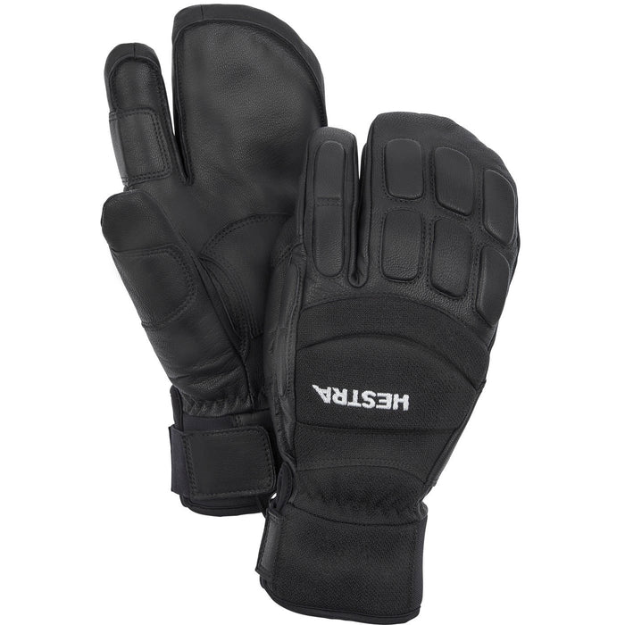 Hestra Vertical Cut CZone 3 Finger Unisex Ski and Snowboard Gloves In Black