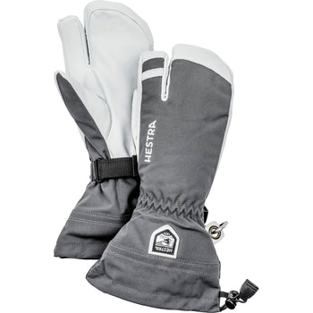 Hestra Army Leather Heli Ski Glove Unisex 3 Finger In Grey