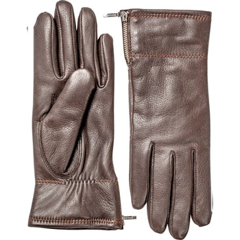 Hestra Womens Charlene Leather Gloves In Dark Brown