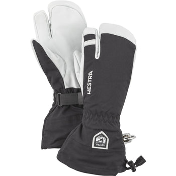 Hestra Army Leather Heli Ski Glove Unisex 3 Finger Lobster Glove Black