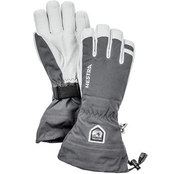 Hestra Army Leather Heli Ski Glove Unisex 5 Finger Grey