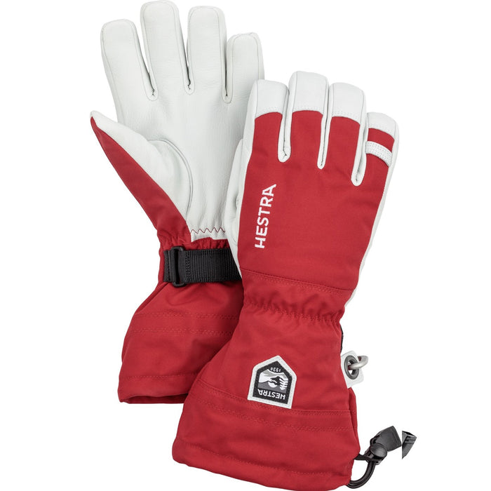 Hestra Army Leather Heli Ski Glove Unisex 5 Finger Red