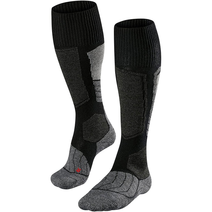 Falke SK1 Womens Ski Socks in Black With High Padding Merino Wool