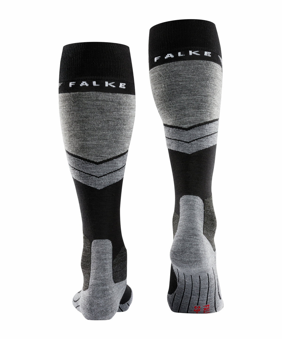Rear view of the Falke SK4 Womens Ski Socks in Black