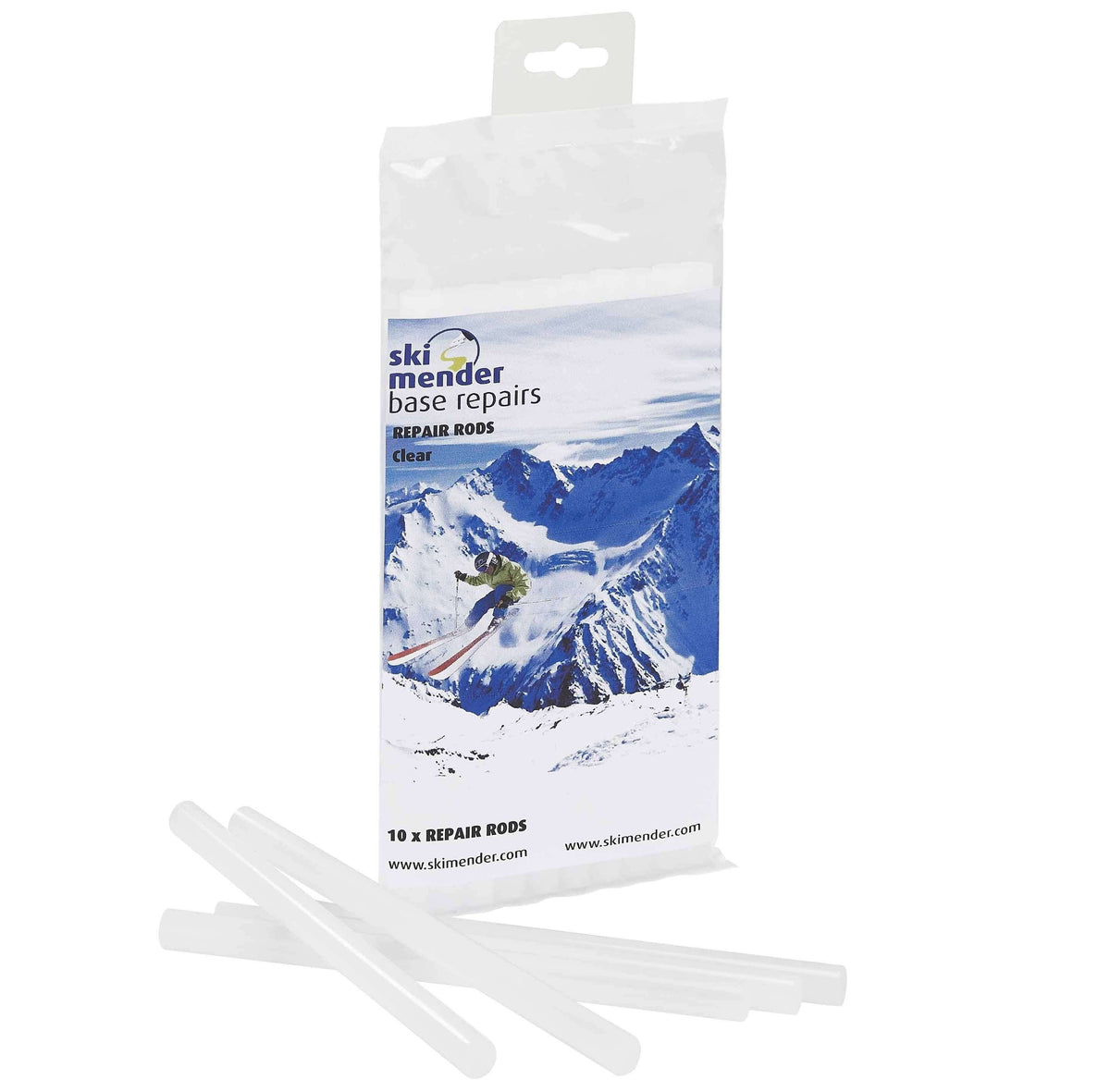 SkiMender Base Repair Ski Mender P-Tex Clear Repair Rods for Base Repair Guns - 10 Pack