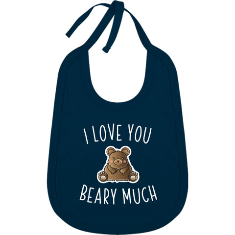 Bavoir Coton - I Love You Beary Much - Navy / Tu - Enfant & Bébé>Bavoirs
