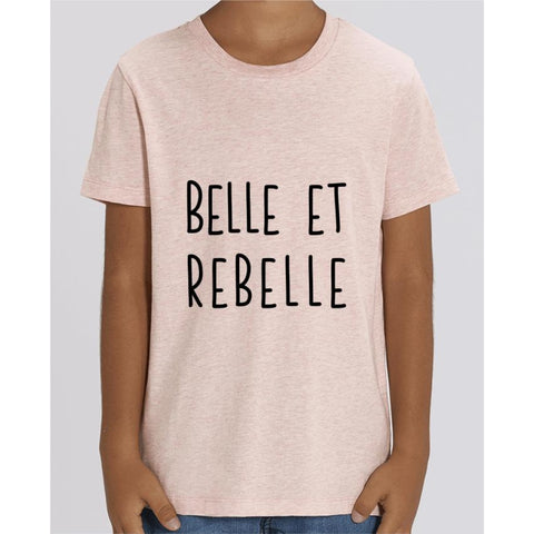 T-shirt Fille - Belle et rebelle - Cream Heather Pink / 3/4 ans - Enfant & Bébé>T-shirts
